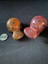 Pair Of African Soapstone Hippos Vtg