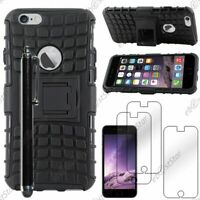 "Coque Housse Etui Armor Bequille Noir Apple iPhone 6 4,7"" + Stylet + 3 Films"
