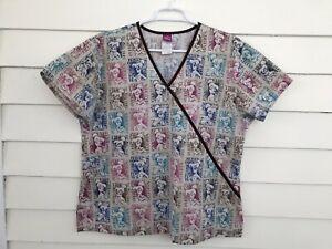 Disney Tinkerbell Top Scrub Large Beige Uniform Straight Loose Mock Wrap Nurse