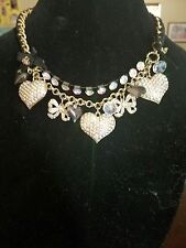 BETSEY JOHNSON ICONIC PAVE CRYSTAL HEARTS & BOWS CHARM STATEMENT~NECKLACE~RARE
