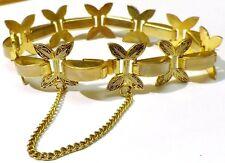 Ancien bracelet bijou vintage or de Tolède décor nacré motifs finement gravés 52
