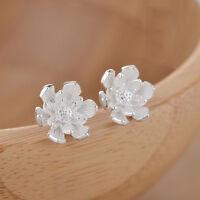 Fine Jewelry Sterling Silver S925 Women Girl Beauty Flower Stud Earrings Gift