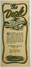 1940's Vintage Menu THE DECK Seafood Restaurant Brunswick Georgia Glynn Marshes