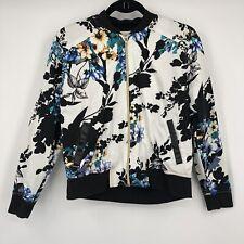 New listing Jaanuu Scrub Bomber Jacket Medium Garden Floral Print Gold Full Zip Faux Leather