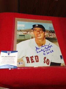 Boston Red Sox Jim Lonborg Signed & Inscribed w/Mantle 8X10 Glossy Beckett COA