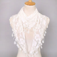 Neck Scarves Lace Scarf Tassel Shawls Hollow Dress Accessories Rose Floral