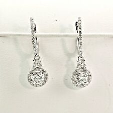 1.16 CT.  SI1 - F DIAMONDS  HALO DESIGN DANGLE HUGGIE EARRINGS 14K WHITE GOLD