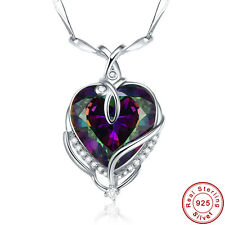 Free Chain & Jewelry Box Gift Rainbow Topaz 925 Sterling Silver Necklace Pendant