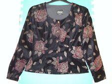 Ladies Size 12 Black Mix Floral Embossed Velvet Vintage Jacket by Opera at Richa