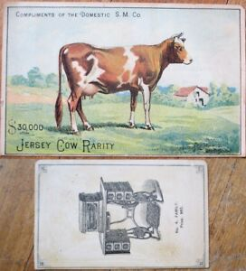 Jersey Cow 1890 Victorian Trade Card - Domestic Sewing Machine Co.