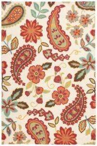 Nourison Paisley Floral Ivory Red Orange Large Area Rug 240 x 300cm