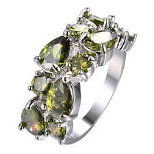 New Mona Lisa Oliver Green Citrine Gemstone Women Jewelry Silver Rings 6-9