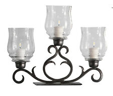 "Candle Holders - ""Paso Robles"" 3-Light Hurricane Candle Holder - Bronze Finish"