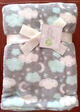 New listing Baby Gear Boys Moon-Stars-Cloud Plush Blanket Gray/Lt Blue/White Poly 30x40