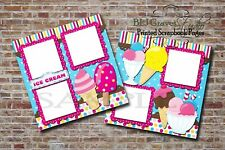 Ice Cream ~ 2 PRINTED Premade Scrapbook Pages, Food Treat Layout BLJgraves 60