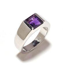 925 Sterling Silver Genuine Amethyst Gem Stones Men's Ring Jewelery Us Size 9