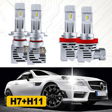 H11+H7 High and Low Beam LED Headlight Combo Kit 6500K 4 Bulbs 240W 48000LM Mini