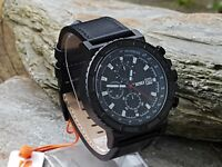 SKMEI Mens Black 1350 Anolog Leather Strap Military Style Watch