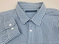 Perry Ellis Men's Button Up Shirt Long Sleeve Size XL Plaid Teal Green White