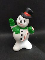 "Vintage  Ceramic Frosty The Snowman Figurine 4"" old Christmas Collectible decor"