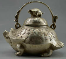 Collectible Decorated Old Handwork Tibet Silver Carved Tortoise Big Tea Pot  NR