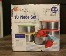 New listing Imperial Home 10 Piece Stainless Steel Mixing Bowls / Storage Bowls With Lids
