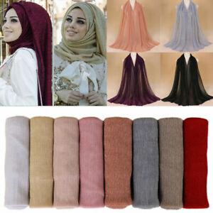 Shiny Shimmer Glitter Sparkly  Plain Girls Scarf Hijab Shawl Wrap Wedding Party