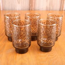 5 Brown Scroll Pattern Tumblers Water Glasses Cups