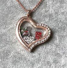 Rose Gold Crystal Heart Photo Locket Memory Keepsake Neckalce Charm