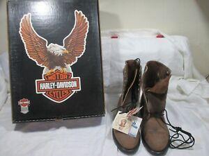 Vintage Harley Davidson Mens Brown Leather Boots Eagle Badge  US 8 D new