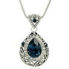 White gold finish sapphire blue pendant necklace september birthstone jewellery