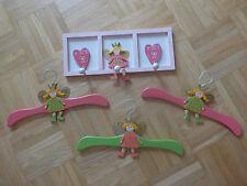 Kinder Garderobe Holz Wand Mädchen Prinzessin inkl. 3 Kleiderbügel