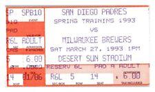 1993 San Diego Padres Milwaukee Brewers 3/27 Spring Training Ticket *ST1R