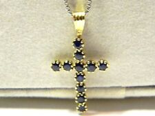 "14K solid yellow gold 11 points sapphire cross pendant charm 22mm 1"" x 1/2"""