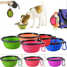 Blue Silicone Cat Dog Pet Feeding Bowl Water Dish Feeder Travel Collapsible