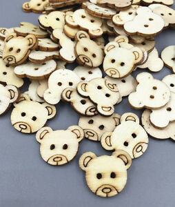500 Wooden Bear Head Buttons 2 Holes Sewing decoration Scrapbooking Craft 18mm