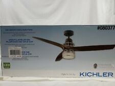 "Wood Finish 54"" CEILING FAN LED Light + REMOTE Casual Drum Cage 0803774"