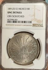 Mexico 1891 ZS 8 Reales Silver Coin NGC UNC