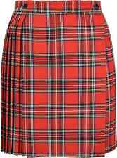 Ladies/womens Tartan Pleated Mini Skirt With Waist Buttons Fastening 18 Inches 16 Red