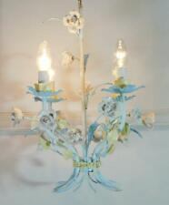 More details for divine vintage french 4 light blue floral tolewear chandelier