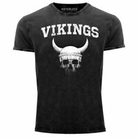 Herren Vintage Shirt Wikinger-Helm Skull Totenkopf Printshirt T-Shirt Aufdruck