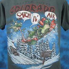 vintage 90s CRESTED BUTTE COLORADO SNOWBOARD FROG CARTOON T-Shirt M ski skate