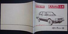 1983 ALFA ROMEO ALFETTA 2.4 Turbo Diesel manuale uso manutenzione originale