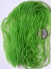 "Apple Green Vintage Round Transparent 11/0 Seed Beads Long 20"" Hank (5418803)"