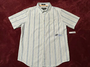 FOX Racing - SIZE L - LARGE Button Up T-shirt Color: WHITE with Blue Stripes