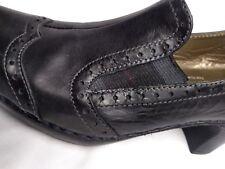 Seibel Black High Heel Loafer Wingtip Pump Clog Women's Comfort Dress Shoes 6.5