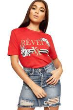 T-shirt, maglie e camicie da donna rossi grafici in misto cotone