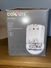 BROMLEY CHROME EFFECT & GLASS WALL LIGHT BY COLOURS HOME LOUNGE LAMP RRP £29.99