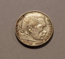 2 DM Deutsche Mark Reichs Mark Paul von Hindenburg 1937 (B1)