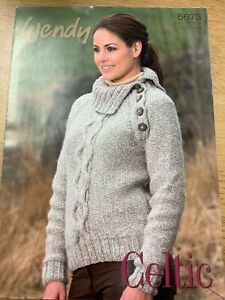 """WENDY KNITTING PATTERN 5673 ladies Cable jumper  32 - 44"""" in Celtic Yarn"""